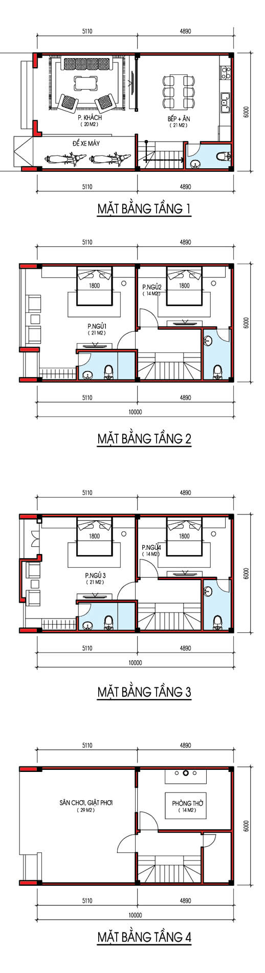 Ban Ve Thiet Ke Nha Ngang 6m Dai 10m