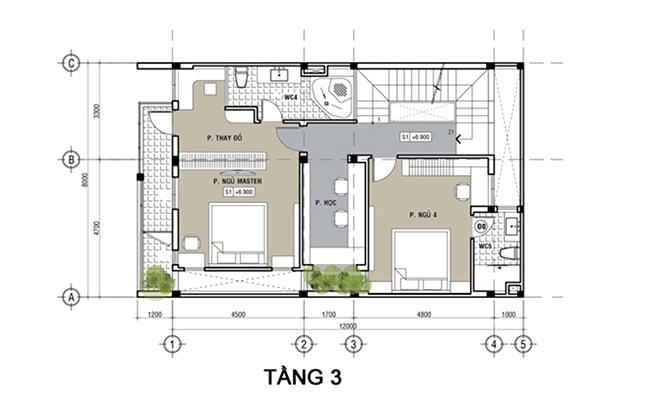 Mau Nha 3 Tang Mat Tien 8m 8