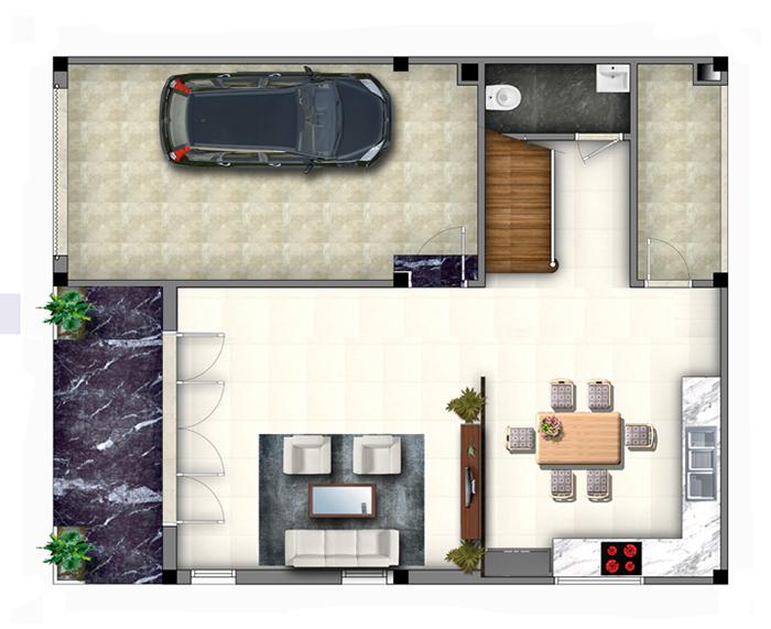 Bản vẽ mẫu nhà 2 tầng 8x10m