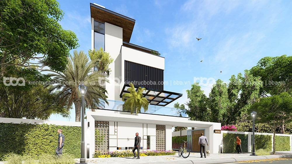 Mẫu thiết kế biệt thự 4 tầng mái bằng hiện đạiMẫu thiết kế biệt thự 4 tầng mái bằng hiện đại