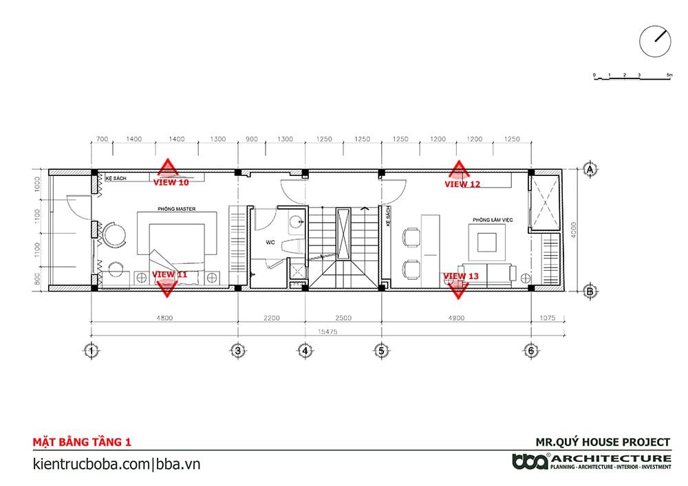 Mẫu nhà ống 3 tầng sân thượng 4x15