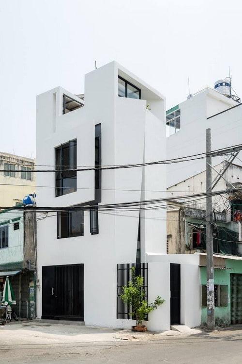 Mẫu thiết kế nhà phố lô góc kết hợp văn phòng cho thuê