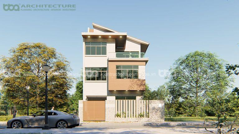 Thiết kế biệt thự 3 tầng mái lệch Mr Thái   Khu dân cư Happy City   Bình Chánh