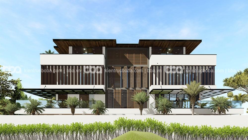 Mẫu thiết kế biệt thự 4 tầng mái bằng hiện đại